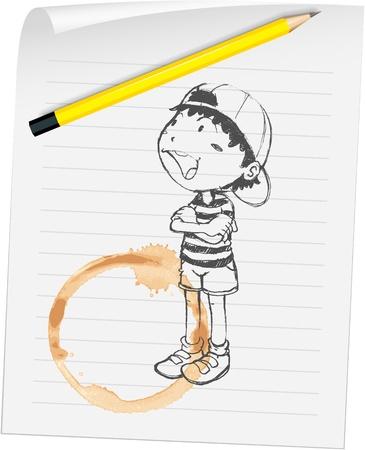 backwards: Illustratie van een jongen en koffie vlek