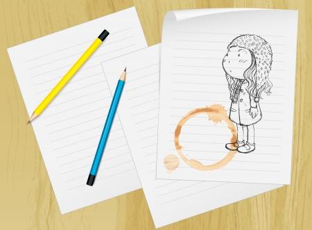 spilt: Illustration of a girl drawn on paper Illustration