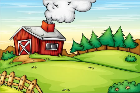 yards: Illustration of an empty farm