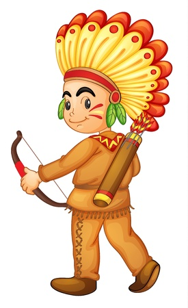 niños actuando: Ilustración de un indio americano