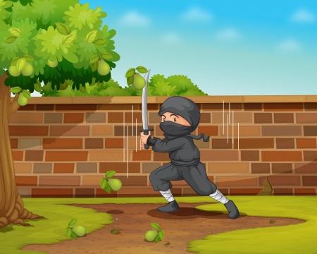 salto de valla: Ilustraci�n de un ninja en un jard�n Vectores