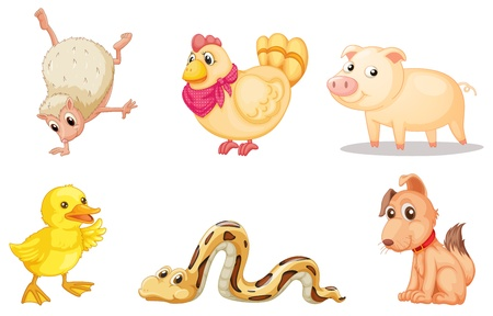 Illustrated group of comical animals Vector