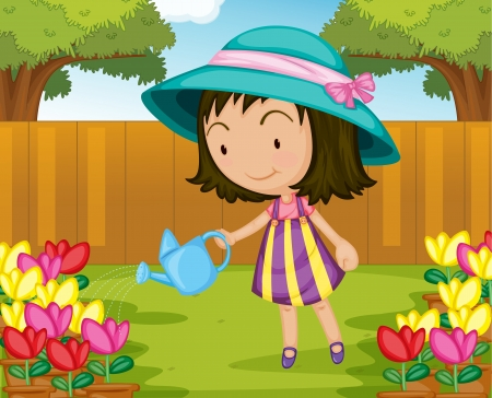 watering: Illustration of girl watering plants