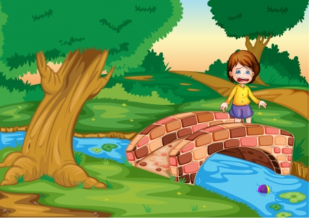 Illustration of a gril crying ona  bridge Vector