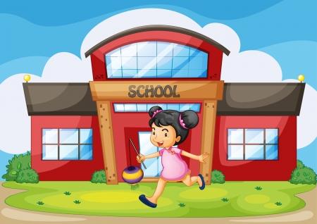サイレント: 学校の前に中国の女の子のイラスト