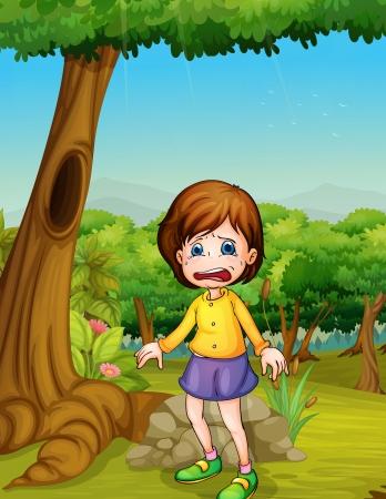 wenen: Illlustration van meisje huilen in het bos