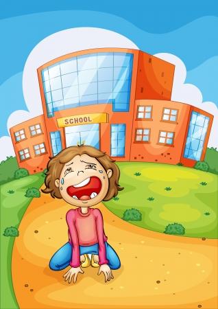 sad boy: Illlustration of a girl crying at school