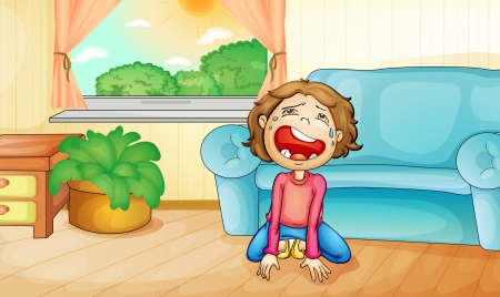 Illlustration of a kid crying at home Stock Vector - 13776889