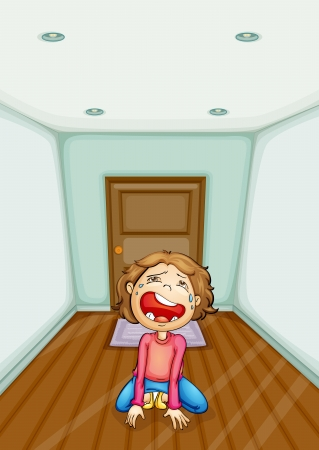 Illlustration of a kid crying at home Vector