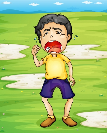 Illlustration of a child crying Vector