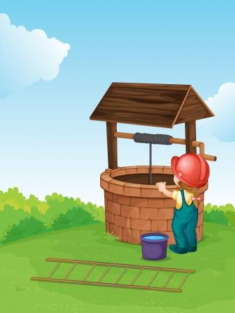 rope ladder: Ilustraci�n de un trabajador en un pozo Vectores