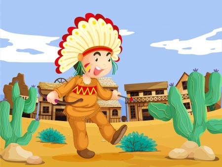 taberna: Ilustraci�n de un indio americano en el lejano oeste