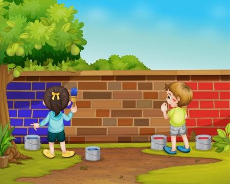 enfants peinture: Illustration de 2 peinture enfants