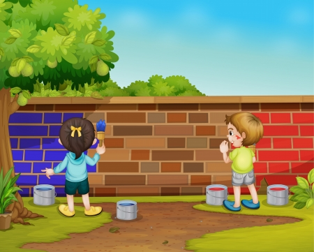 Illustration of 2 kids painting