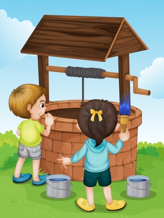 water wheel: Illustration of kids working at a well