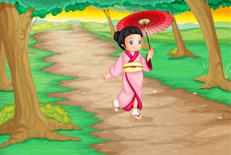 walking down: Illustration of a geisha walking down a path