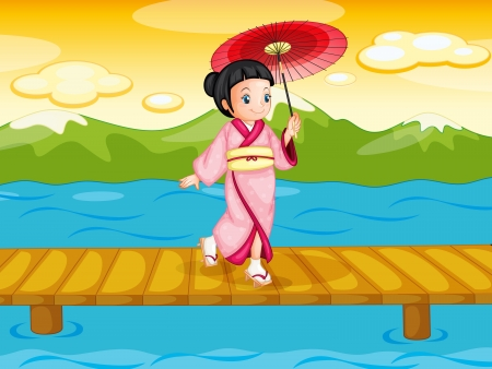 Illlustration of a chinese woman on bridge Vector