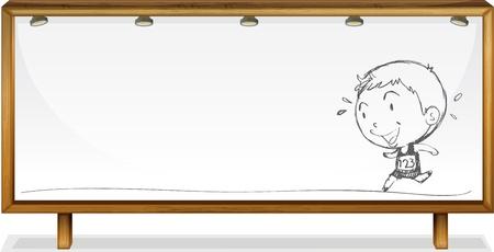 billboard background: Illustration of a child sketched on paper Illustration