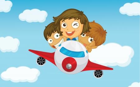avion caricatura: Illlustration de los ni�os en un avi�n