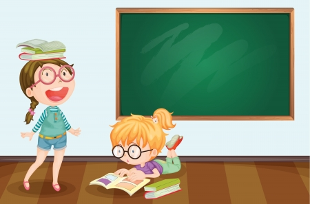 kids reading book: Illlustration of kids in the classroom