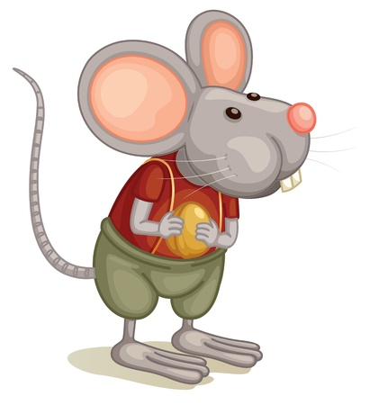 white cheese: Illlustration of a cute mouse