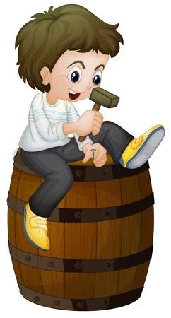 wood barrel: Illlustration of a barrel and boy