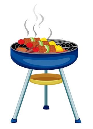 carne asada: Ilustraci�n de la cocina brochetas en una barbacoa