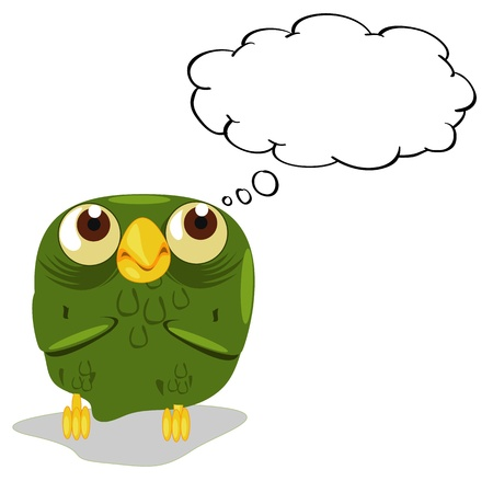 Illlustration of an owl thinking Vector