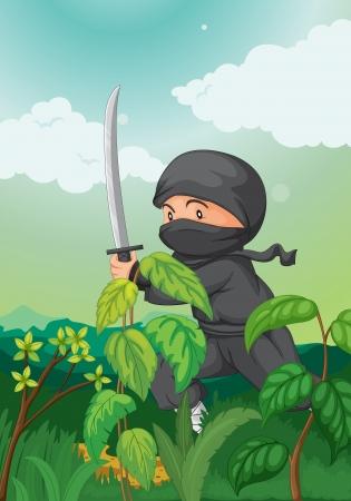 Illustration of a ninja in black Vector