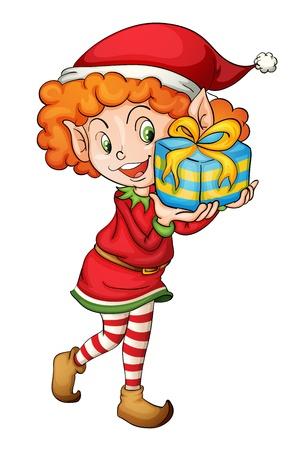Illustratie van een kerst elf