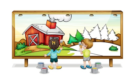 paiting: Illustration of children painting a banner