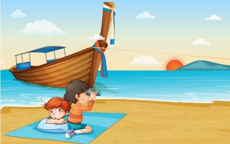 sand asia: Illustration of boy on holiday in Thailand Illustration