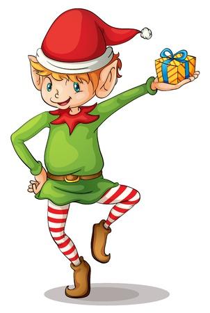santa helper: Illustration of a christmas elf