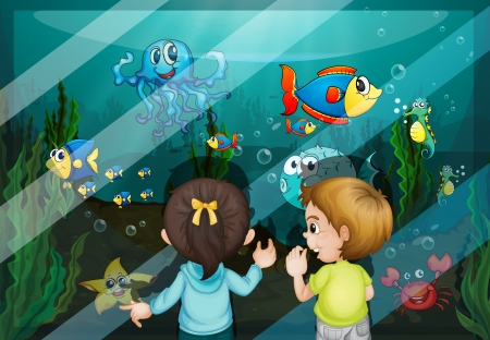 water weed: Illustration of kids at the aquarium Illustration