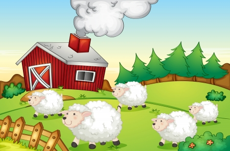 Illustration of sheep on a farm Vector