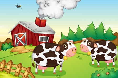 nosering: Illustration of cows on a farm Illustration