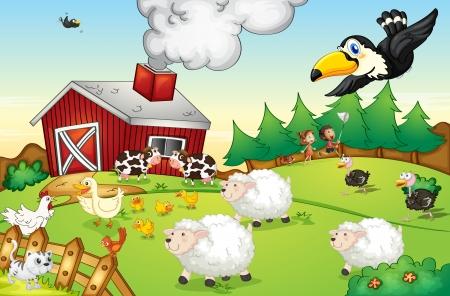 vogelspuren: Illustration eines gesch�ftigen Bauernhof Szene