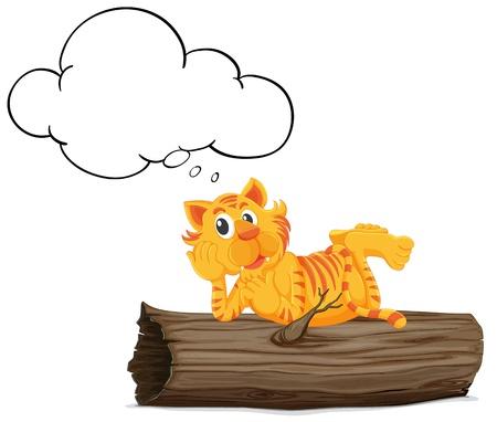 restful: Illustration of a thinking tiger