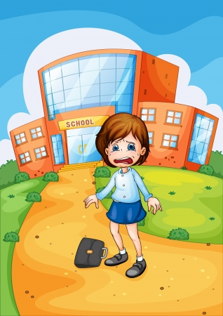 Illustration of crying at school Vector