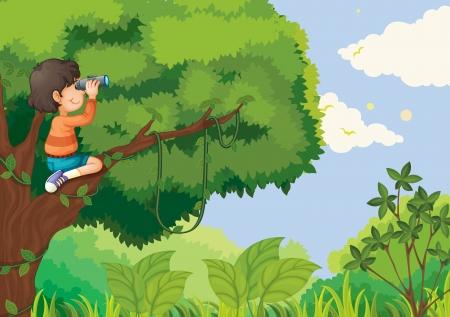 Illustration of boy in a tree Vector