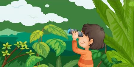 kijker: Illustratie van jongen in het bos met een verrekijker