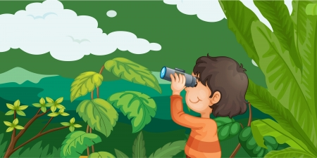 Illustration of boy in forest with binoculars Vector