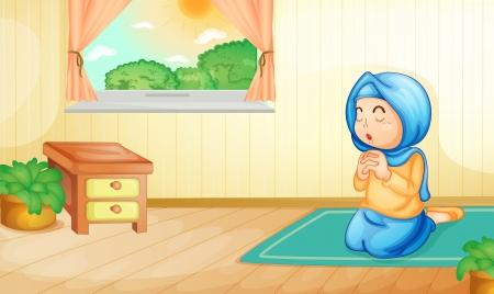 fille arabe: Illustration d'une jeune fille musulmane prier