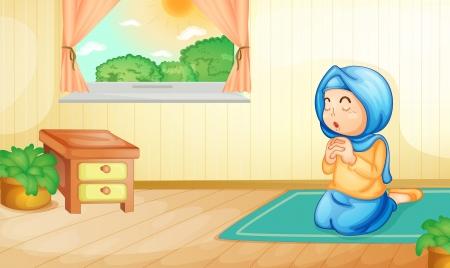 conservative: Illustration of a muslim girl praying