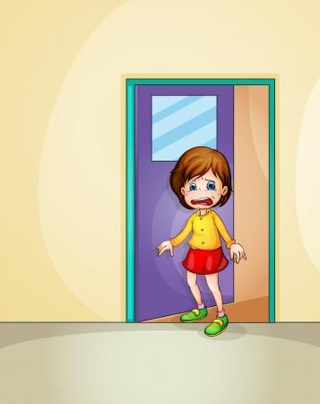 Illustratie van meisje huilen thuis