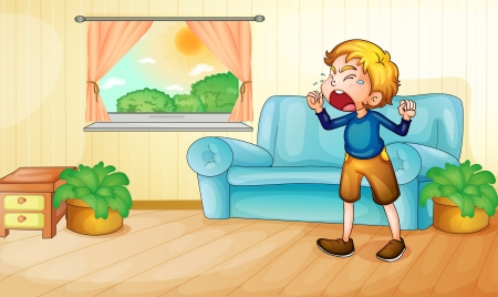 Illustration of a boy crying in living room Vector