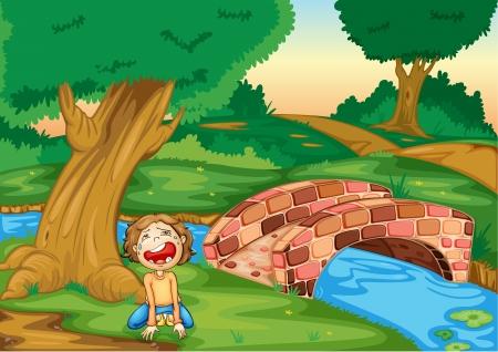 niño llorando: Ilustración de un niño llorando en un bosque