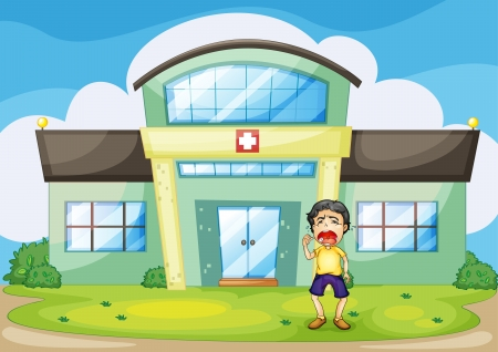 Illustration of a boy crying at hospital Vector
