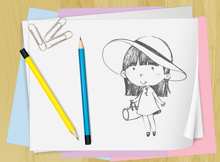 Illustration of a girl drawn on paper Vector
