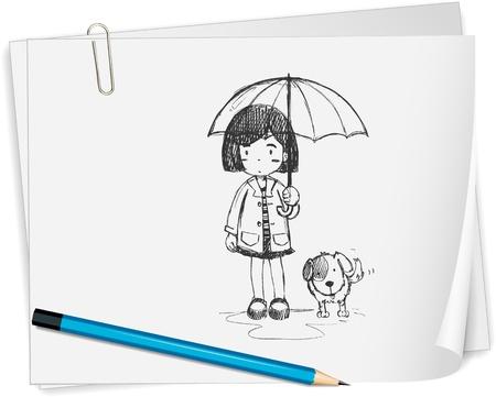 ni�os con l�pices: Ilustraci�n de una chica dibujada en un papel